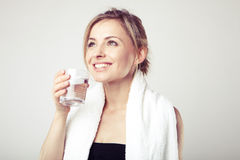 Woman Drinking Water Stock Photo