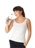 Woman drinking water from bottle Royalty Free Stock Image