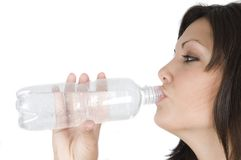 Woman drinking water isolated Royalty Free Stock Photo