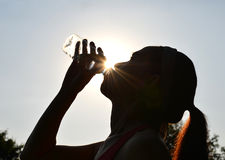 Woman drinking water. Middle aged woman drinking water after exercising Royalty Free Stock Image