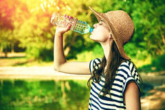 Woman drinking water Royalty Free Stock Images