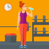 Woman drinking water. A sportive woman drinking water in the gym vector flat design illustration. Square layout royalty free illustration