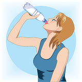 Woman drinking water. Vector illustration of a woman drinking water Royalty Free Stock Images