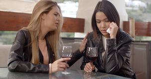 Woman drinking with weeping friend stock footage