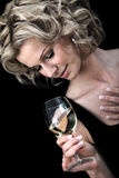 Woman drinking wine Stock Photography