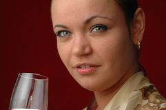 Woman drinking wine. Red wine Royalty Free Stock Images
