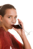Woman drinking wine stock image