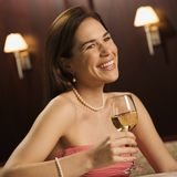 Woman drinking wine. Stock Images