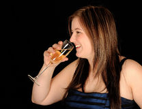 Woman drinking wine Royalty Free Stock Photography