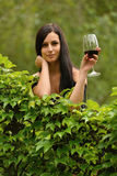Woman drinking wine. Stock Image