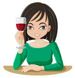 A woman drinking wine Royalty Free Stock Photos