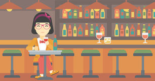 Woman drinking wine at restaurant. Stock Photos