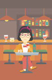 Woman drinking wine at restaurant. Royalty Free Stock Photos