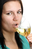 Woman drinks home made wine Stock Photography