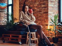 A woman drinks hot coffee in a room with loft interior. A brunette female dressed in a brown long neck jacket drinks hot coffee in a room with loft interior Royalty Free Stock Photography