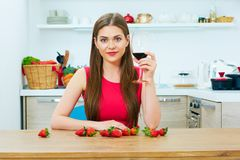 Woman drinks red wine alone Royalty Free Stock Photo