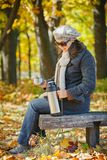 Woman drinks tea in autumn park Stock Images