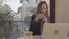 Woman drinks tea and works at pc indoor stock video footage