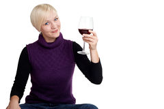 Woman drinks a toast Stock Photos