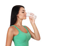 Woman drinks water Stock Photos