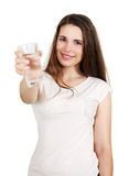 Woman drinks water, Isolated on white Stock Photography