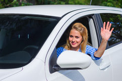 Woman drive the car. Young woman drive the car Royalty Free Stock Image