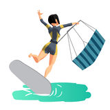 Woman drive at kite surfing. Back view Stock Image