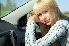 Woman driver. Beauty woman driver in car Royalty Free Stock Photos