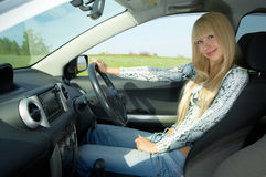 Woman driver. Beauty woman driver in car Stock Photo