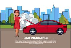 Woman Driver Of Broken Car Calling In Insurance Service For Help And Assistance. Vector Illustration Royalty Free Stock Photos