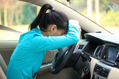 Woman driver in car. Young asian woman driver sit in car Stock Photo