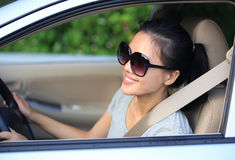 Woman driver driving car Royalty Free Stock Photography