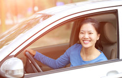 Woman driver driving a car Royalty Free Stock Photography