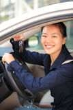 Woman driver happy with her first car Royalty Free Stock Photography