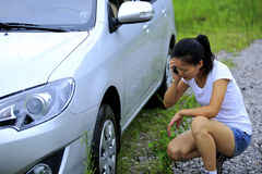 Woman driver have car problem Stock Photography