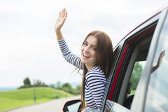 Woman driver outside Royalty Free Stock Images