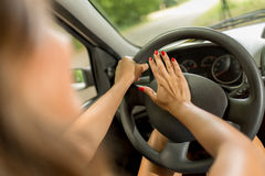 Woman Driver Pressing In A Horn Royalty Free Stock Photography