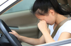 Woman driver sad in car. Sad woman driver sit in car Stock Photography