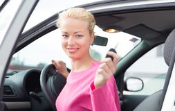 Woman driver showing car keys. Royalty Free Stock Image