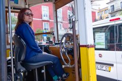 Woman driver tram in Lisbon Royalty Free Stock Photo