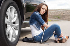 Woman driver waiting for a mechanic Stock Photos