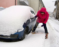 Woman driver wrestles with snow chains Royalty Free Stock Photography