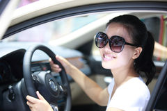 Woman driver. Young woman driver driver a car Royalty Free Stock Image