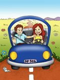 Woman that drives. Colored illustration of an amusing scene. A woman drives and the man is not calm Royalty Free Stock Images