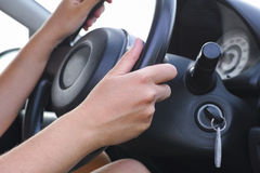 Woman drives car Stock Photography