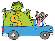 Woman driving away with runaway savings money bag. An image of a woman driving away with runaway savings moneybags Stock Image