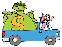 Woman driving away with runaway savings money bag Stock Image