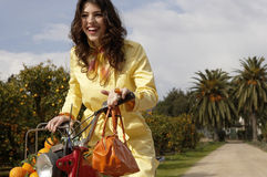 Woman Driving Bike Royalty Free Stock Photo