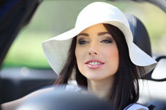 Woman driving cabrio  car. Royalty Free Stock Photos