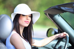 Woman driving cabrio  car. Royalty Free Stock Images